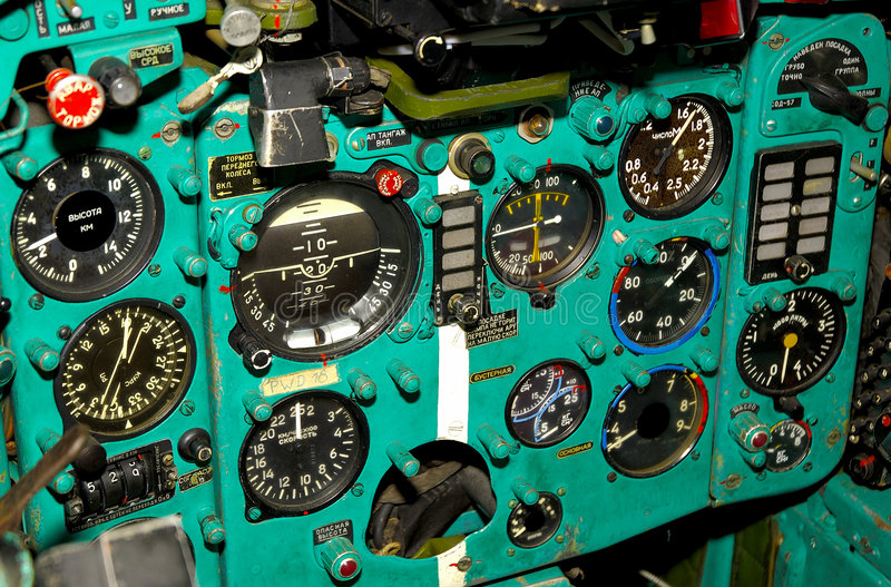 Russian Fighter Cockpit royalty free stock images