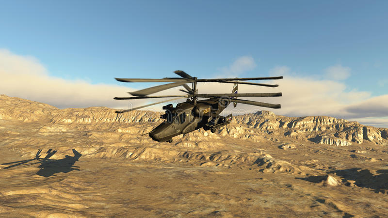 The Russian fighting helicopter stock illustration
