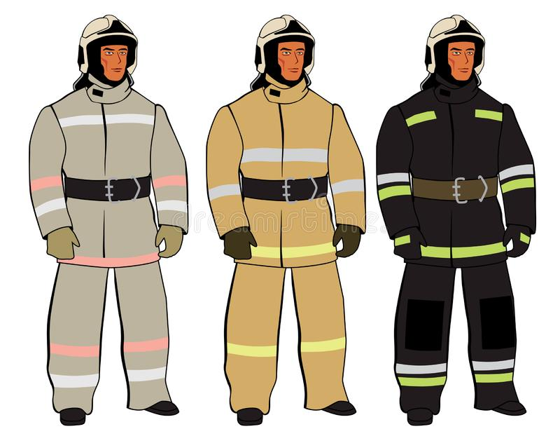Russian firefighter. A full-length figure. Form options. Vector full color graphics vector illustration