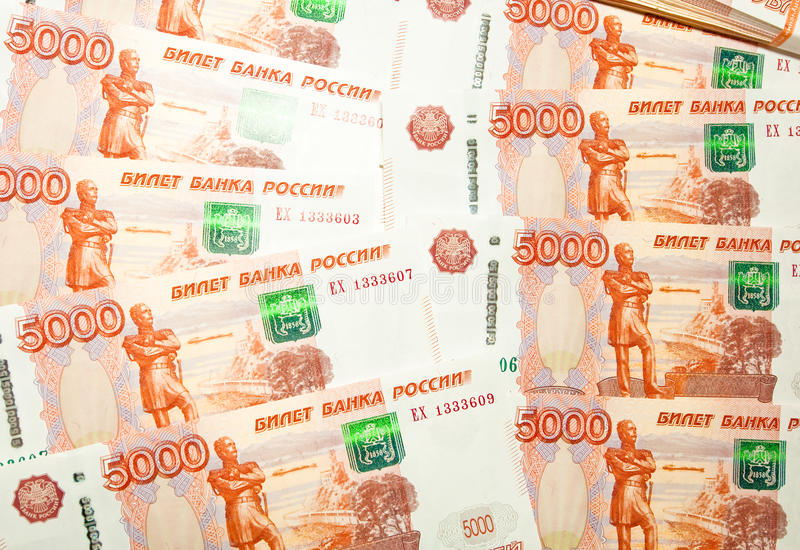 Russian five-thousand ruble banknotes. Five thousand ruble banknotes on the table royalty free stock photo