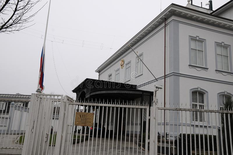 RUSSIAN FKAG AT HALF MAST AT RUSSIAN EMBASSY. Copenhagen/Denmark 27.March.2018_ Russian at half mast at russian embassy in Copenhagen denmark decided that will stock images