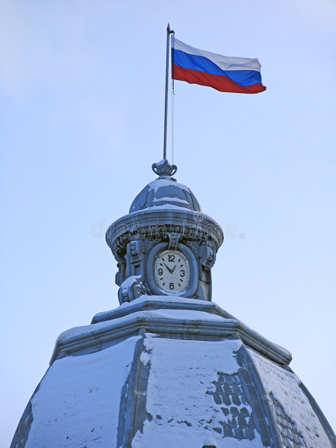Russian flag. Russian flag and clock. Russia. Tomsk stock image