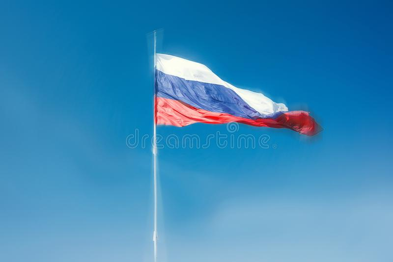 Tricolor the Russian Federation is developing in the wind. stock photo