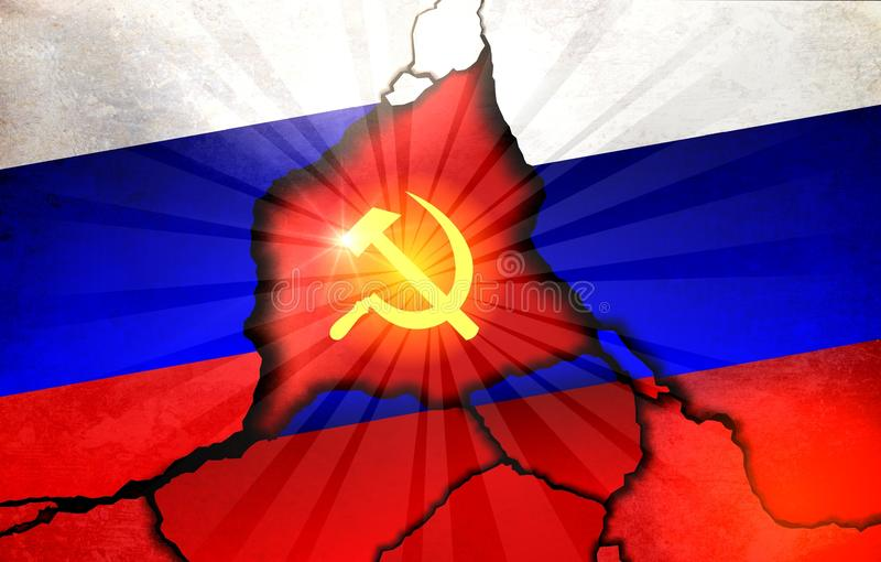Russian flag and emblem of the USSR stock images