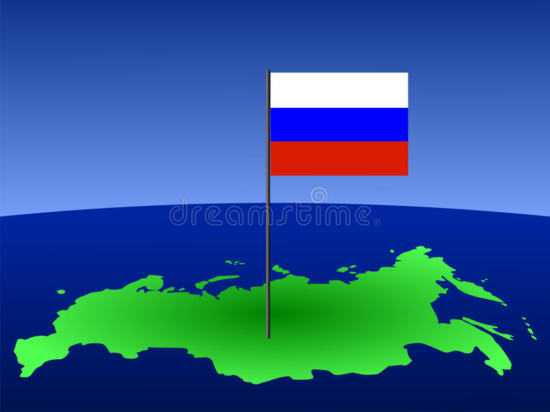Russian flag on map