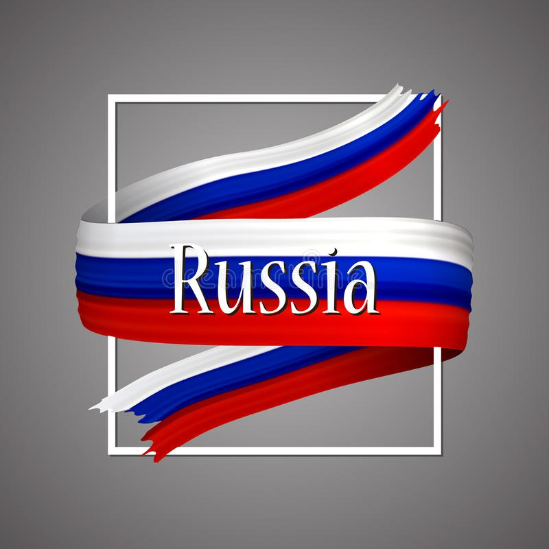 Russian flag. Official national colors. Russian 3d realistic stripe ribbon. Vector icon sign background. stock illustration
