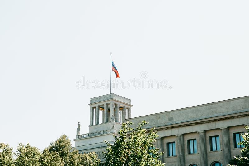 Russian flag over the building of the Russian Embassy in Berlin. In Germany stock photography