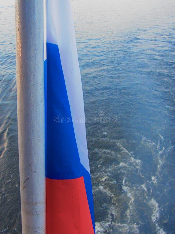 Russian flag on ship stock photos