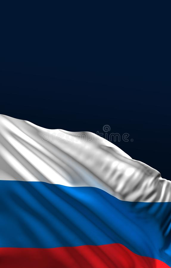 Russian flag, Russia abstract colors, 3D rendering vector illustration