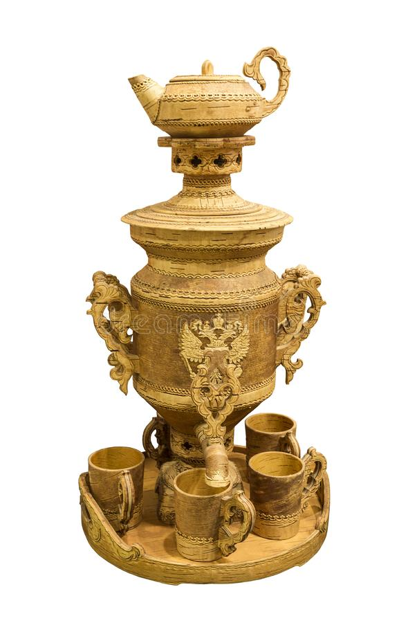 Russian folk crafts - samovar made of birch bark. The City Of Shadrinsk, In The trans-Ural, Russia. Samovar can be used for its intended purpose, ie for the royalty free stock images