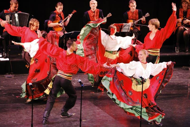 Russian folk dance group stock photos