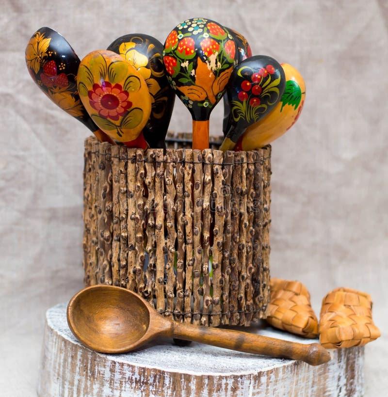 Russian folk art wooden utensils Hand painted spoons