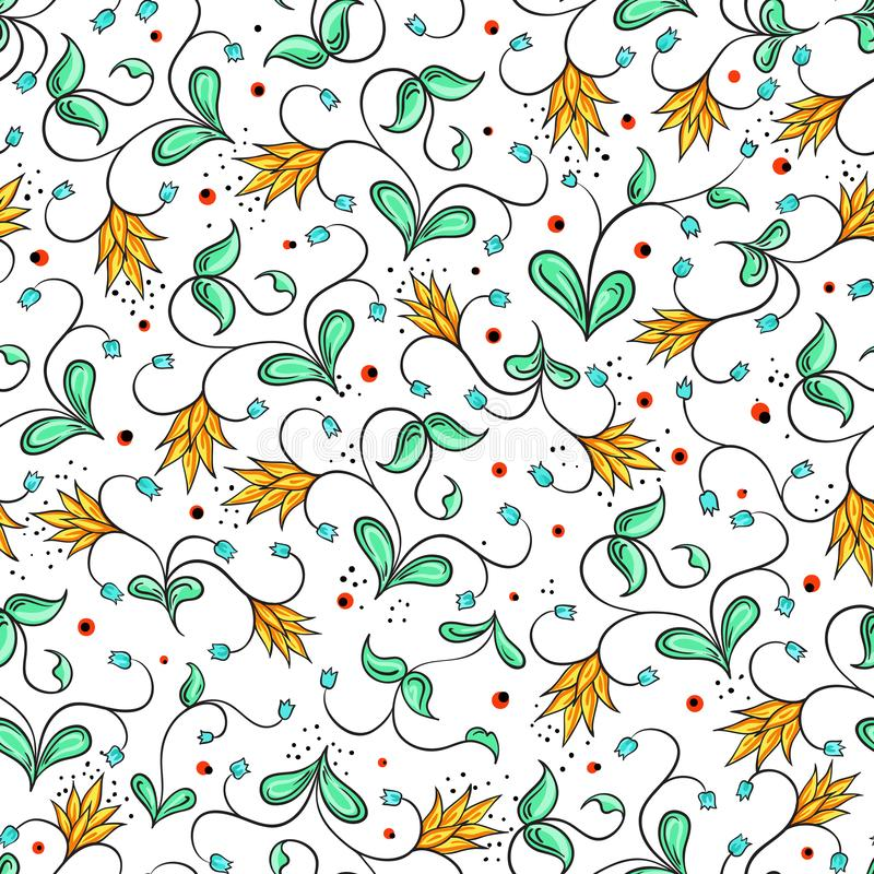 Russian folk seamless pattern. Beautiful floral motifs and unique composition. Vector art. Russian traditional ornament. stock illustration