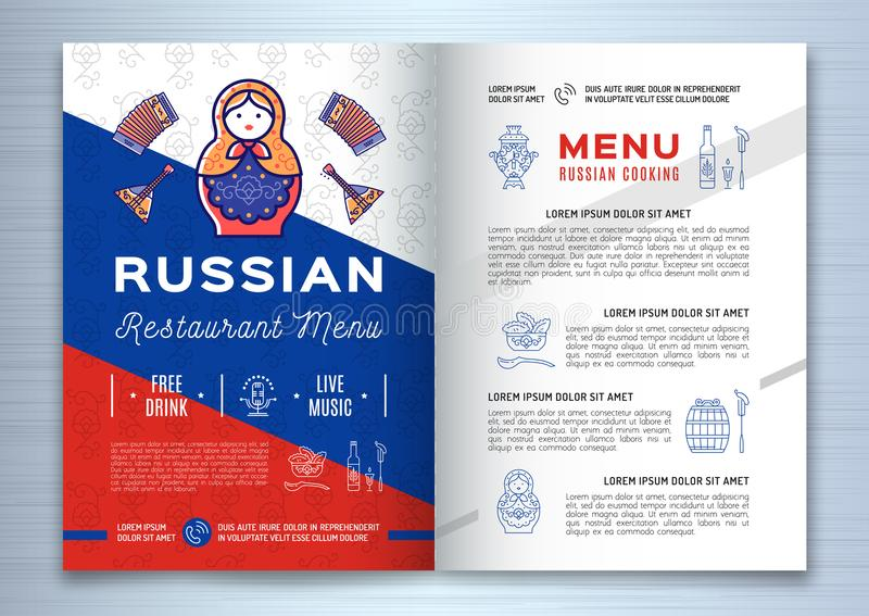 Russian food brochure Restaurant menu. Traditional russian icons - food and drink, vodka, flag, doll matryoshka, samovar stock illustration