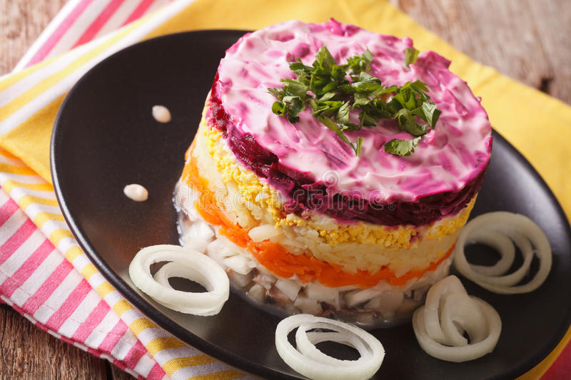 Russian food: holiday herring salad with vegetables close-up. Ho stock photography