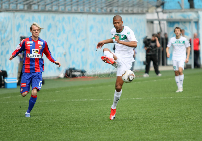 Russian Footbal Premier League. CSKA's Milos Krasic (L) in action during their team's Russian football championship game CSKA (Moscow) vs. Terek (Grozny) - (4:1 royalty free stock images