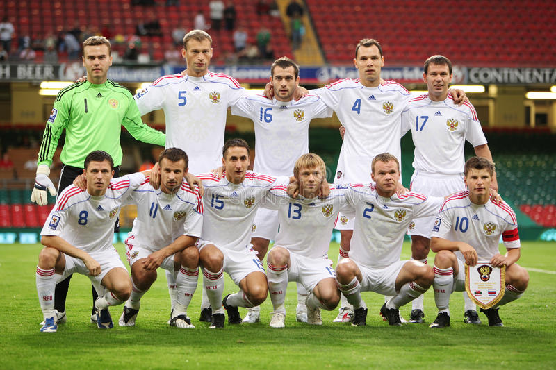 Russian Football Team. Russian 2010 World Cup Football Team posed for photographers during their qualifiying match against Wales at The Millennium Stadium royalty free stock image