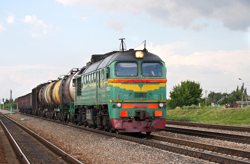 Russian freight diesel train. The short freight train in Konyshovka station, Kursk region, Russian Federation stock photo
