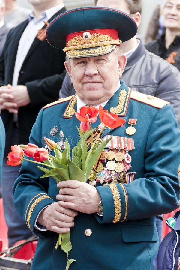 Russian general on celebration at the parade on annual Victory Day, May, 9, 2017 in Samara, Russia stock images