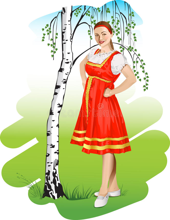 Download Russian girl stock vector. Image of dress, national, retro - 20693742