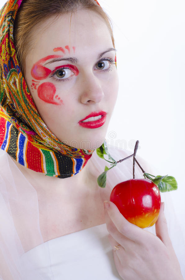 Russian Girl In A Headscarf Royalty Free Stock Photo