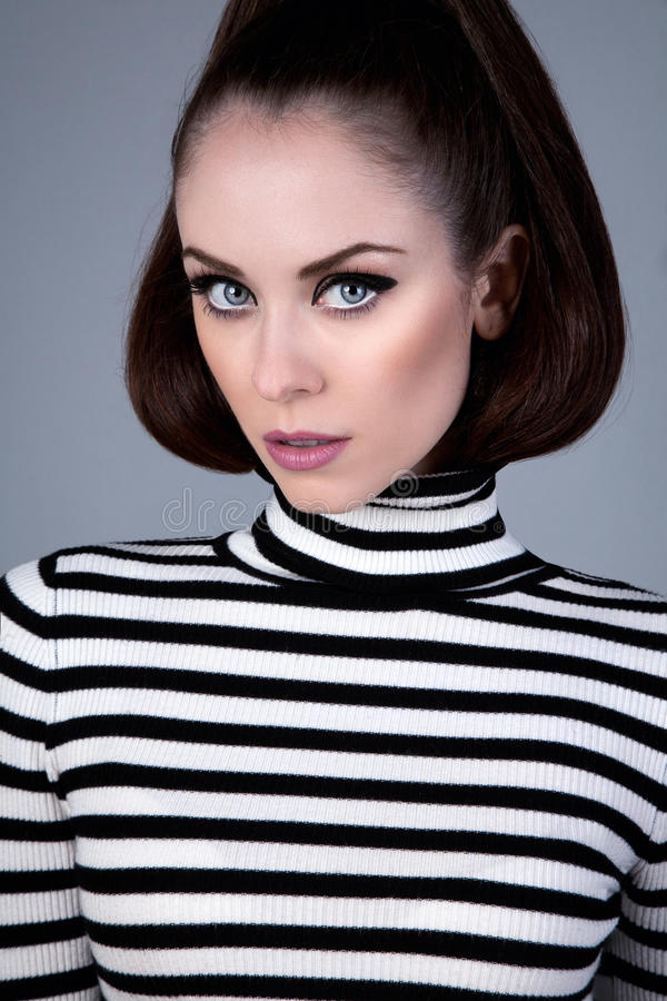 Download Russian girl in turtleneck stock image. Image of eyeliner - 22633901