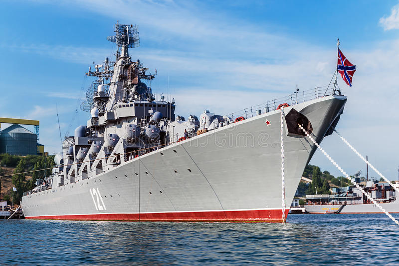 Russian guided missile cruiser Moskva. SEVASTOPOL, Russia - June 14, 2014: Russian guided missile cruiser Moskva. Guards missile cruiser Moskva (121) - Russian stock image