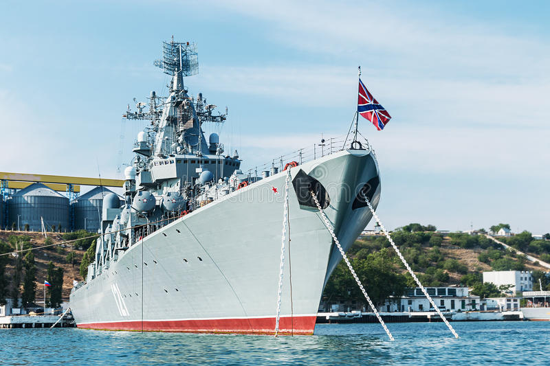 Russian guided missile cruiser Moskva. SEVASTOPOL, Russia - June 14, 2014: Russian guided missile cruiser Moskva. Guards missile cruiser Moskva (121) - Russian stock images