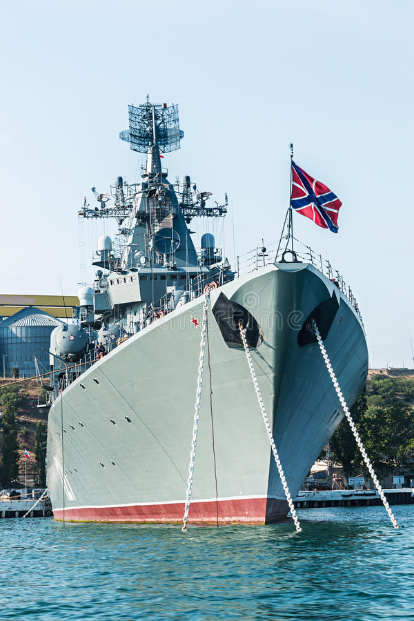 Russian guided missile cruiser Moskva. SEVASTOPOL, Russia - June 14, 2014: Russian guided missile cruiser Moskva. Guards missile cruiser Moskva (121) - Russian royalty free stock photography