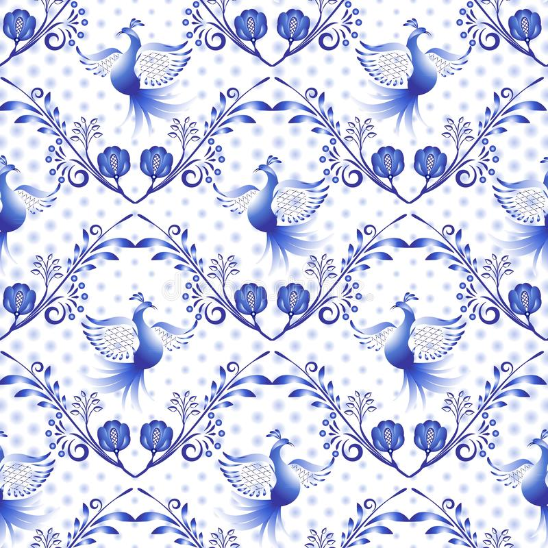Free Russian Gzhel Pattern. National Floral Background, Seamless Navy Blue Ornament With Birds And Dots In The Style Of Traditional Por Stock Photos - 128361673