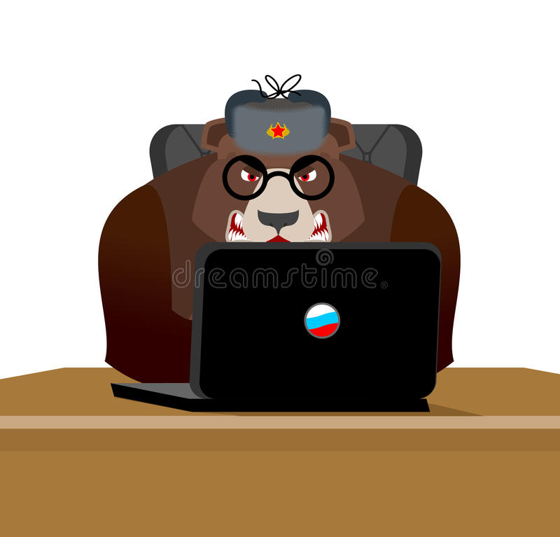 Russian hacker. Bear and laptop. IP technology in Russia. Wild b vector illustration