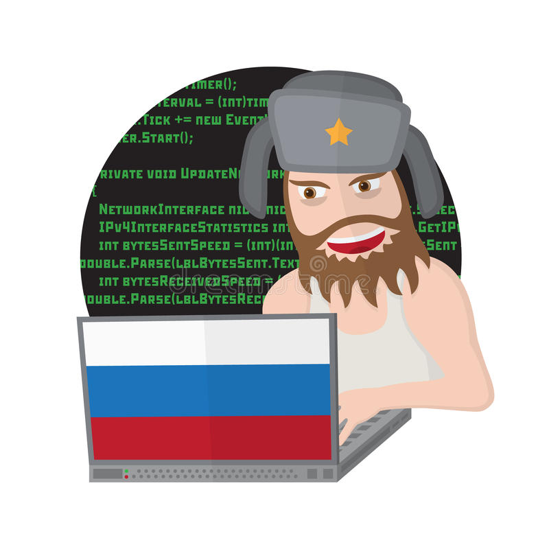 Russian hacker with laptop isolated on white background. royalty free illustration