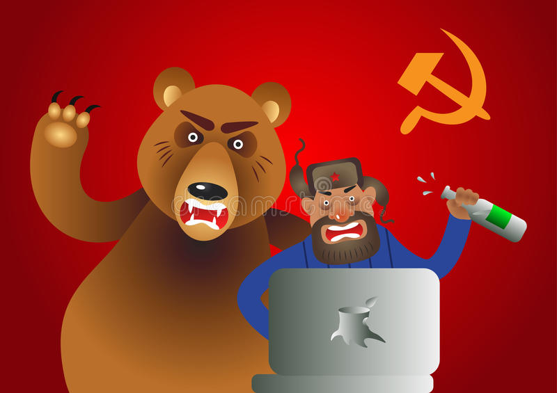 Russian hacker with laptop, vodka and own pet bear on USSR flag background stock illustration