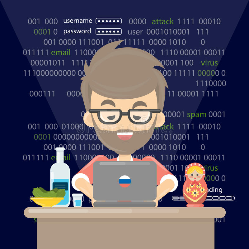 Russian hacker, Thief trying to hack personal information and download data. vector illustration