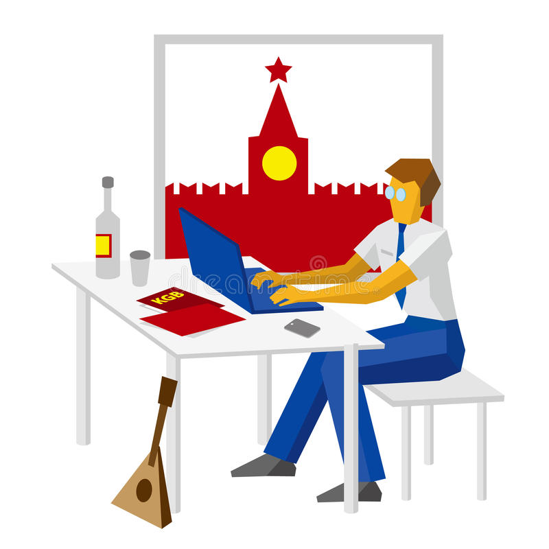 Russian hacker with traditional elements - Kremlin, vodka, balalaika vector illustration