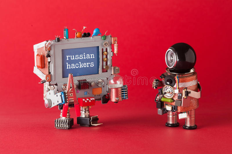 Russian hackers cyber attack concept. System administrator and computer with warning text message on blue desktop. Red stock photo