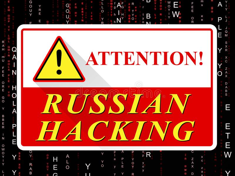 Russian Hacking Attention Sign Shows Attack 3d Illustration. Russian Hacking Attention Sign Showing Attack 3d Illustration royalty free illustration