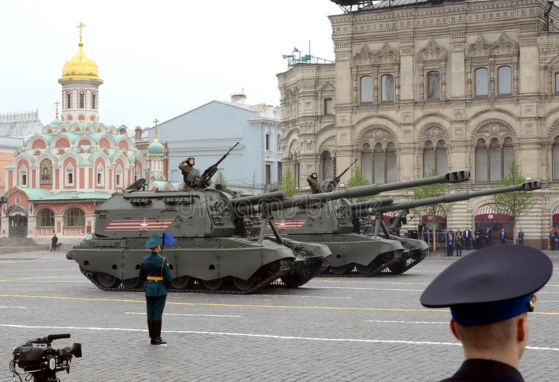 Russian heavy self-propelled 152 mm howitzer 2S19 `Msta-S` M1990 `Farm`. MOSCOW, RUSSIA - MAY 9, 2019: Celebration of the 74th anniversary of the Victory Day royalty free stock image