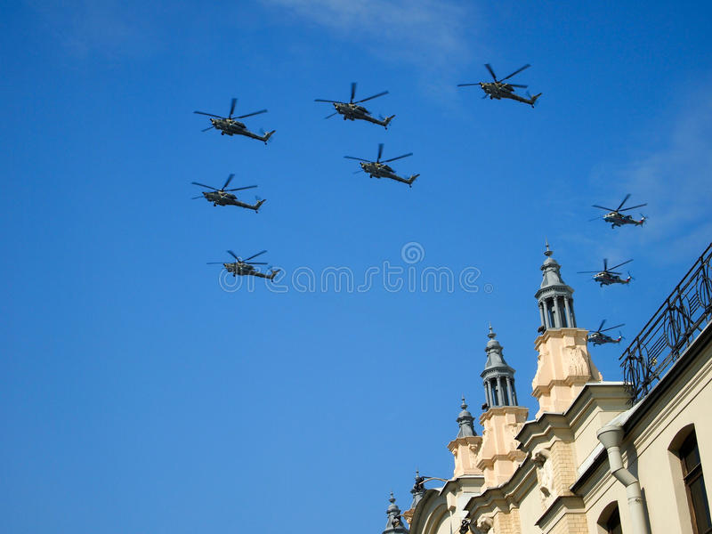 Russian helicopters royalty free stock photos