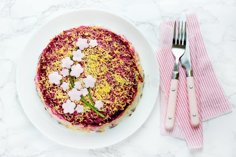 Russian herring under fur coat salad shuba royalty free stock photo