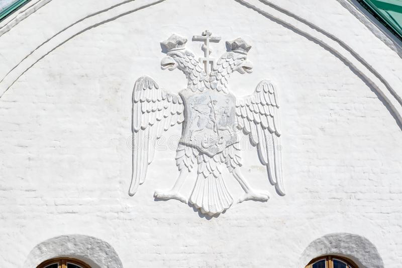 Martial Chamber, the Museum of the First World War in Pushkin (Tsarskoye Selo), Saint-Petersburg, Russia. Russian imperial two-headed eagle coat of arms with a royalty free stock photography