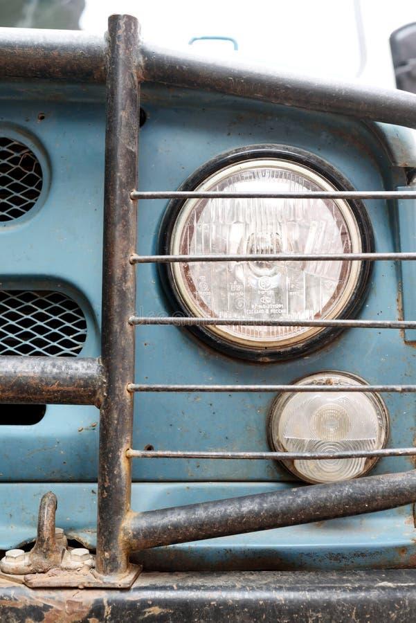 Russian Jeep Headlight Closeup stock photo