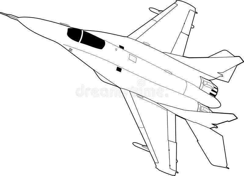 Russian jet fighter aircraft MiG-29. vector illustration