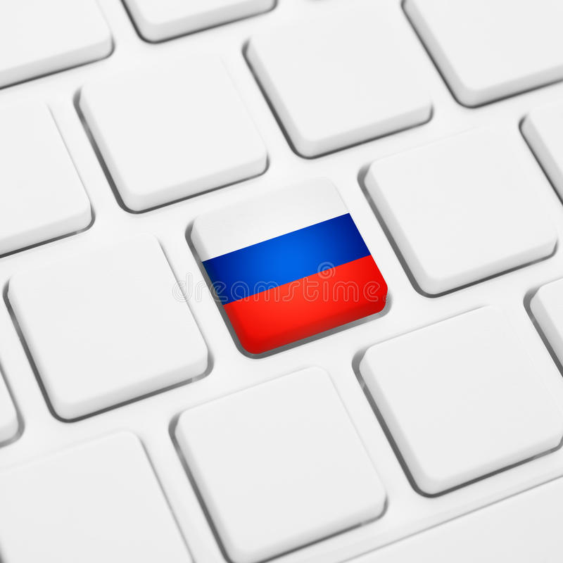 Russian language or Russia web concept. National flag button or royalty free illustration