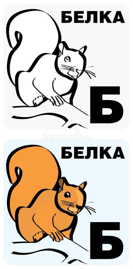 Russian letter B flashcard vector illustration