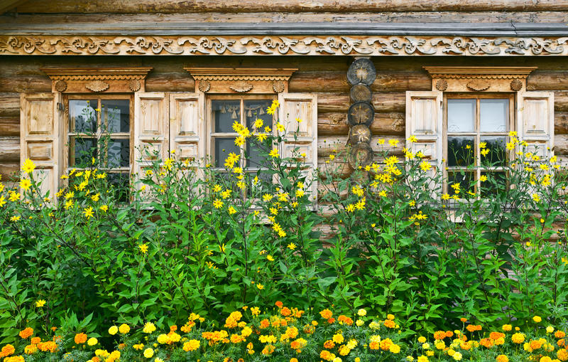 Russian Log House Stock Photos
