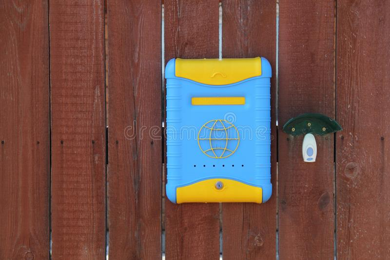 Russian mailbox on the fence royalty free stock photo