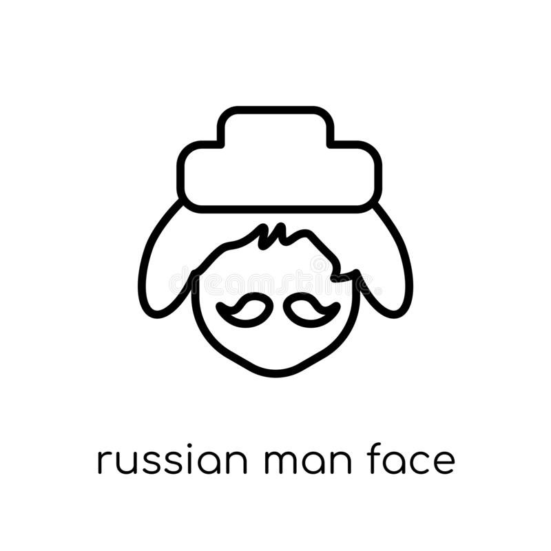 Russian man face icon. Trendy modern flat linear vector Russian stock illustration