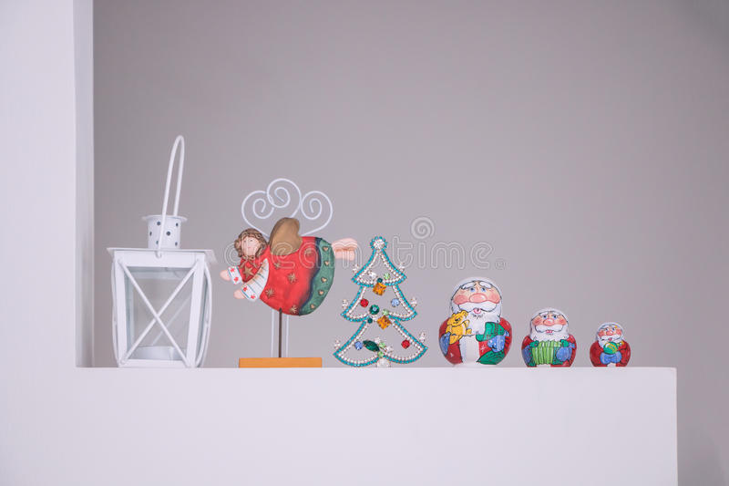 Russian Matreshka traditional with Santa Claus decoration. Christmas ornaments and Russian Matreshka traditional with Santa Claus decoration royalty free stock image