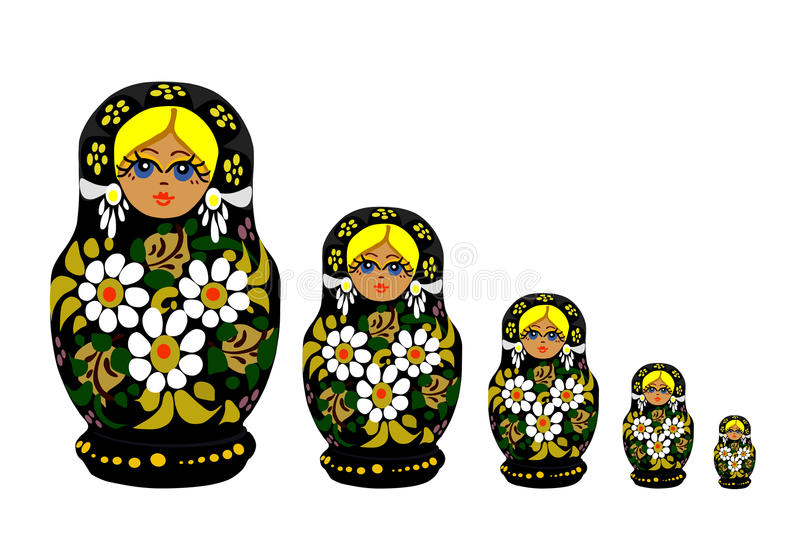 Russian Matrioska - Vector. The russian national toys, Matrioskas stock illustration